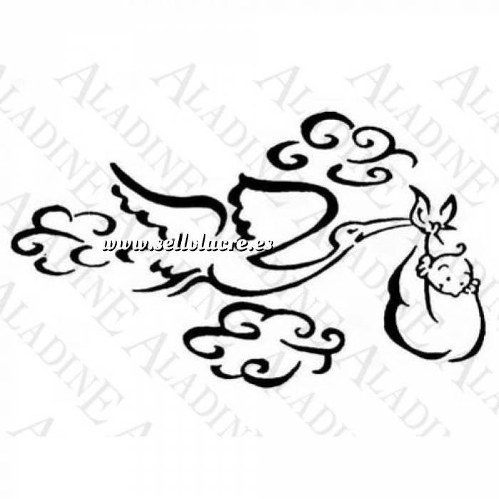 Imagen Diseños inmediatos BAUTIZO SELLO CAUCHO CIGÜEÑA VOLANDO (Últimas unidades)