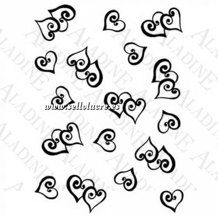 Imagen Diseños inmediatos SELLO CAUCHO FONDO CORAZONES ESPIRALES (Últimas Unidades)