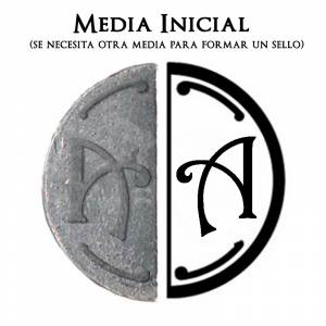 2 Iniciales Intercambiables - Placa Media Inicial A para sello vacío de lacre