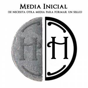2 Iniciales Intercambiables - Placa Media Inicial H para sello vacío de lacre
