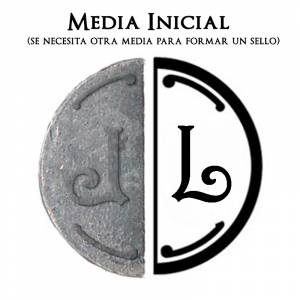 2 Iniciales Intercambiables - Placa Media Inicial L para sello vacío de lacre
