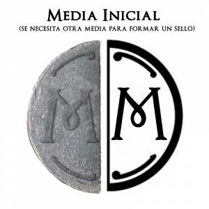 2 Iniciales Intercambiables - Placa Media Inicial M para sello vacío de lacre