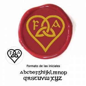 Con TU diseño - Sello Lacre 2.5 cms. Corazón celta con iniciales