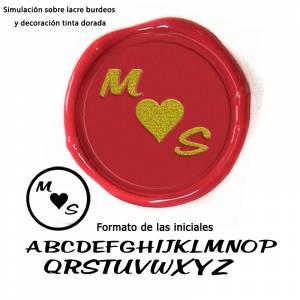 Con TU diseño - Sello Lacre 2.5 cms. Corazón con iniciales