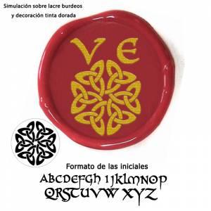 Con TU diseño - Sello Lacre 2.5 cms. Iniciales celtas