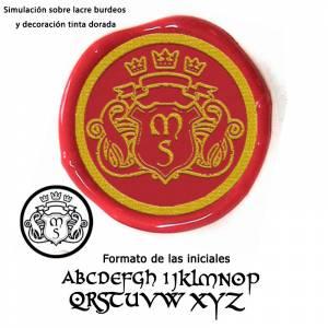 Con TU diseño - Sello Lacre 3 cms. Escudo con iniciales