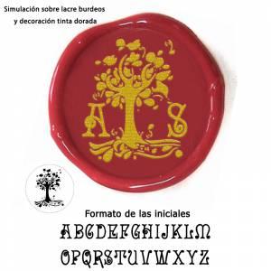Con TU diseño - Sello Lacre 3 cms. árbol con iniciales
