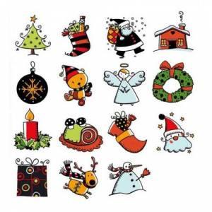 Imagen Kits 15 sellos Sellos Navidad. Incluye 15 diseños y 1 tampón negro (Últimas Unidades)