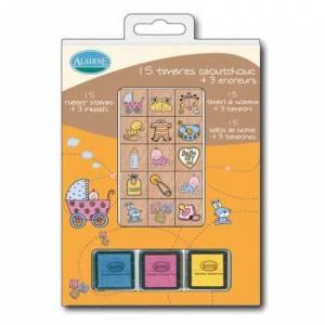 Kits 15 sellos - Sellos bautizo. Incluye 15 diseños y 3 tampones (Últimas Unidades)