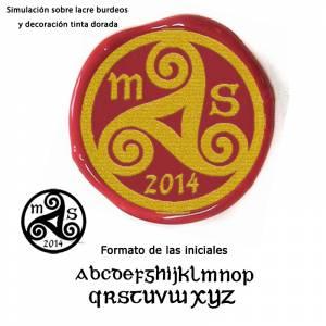 Personalizado con TU diseño - Sello Lacre 3 cms. celta con iniciales
